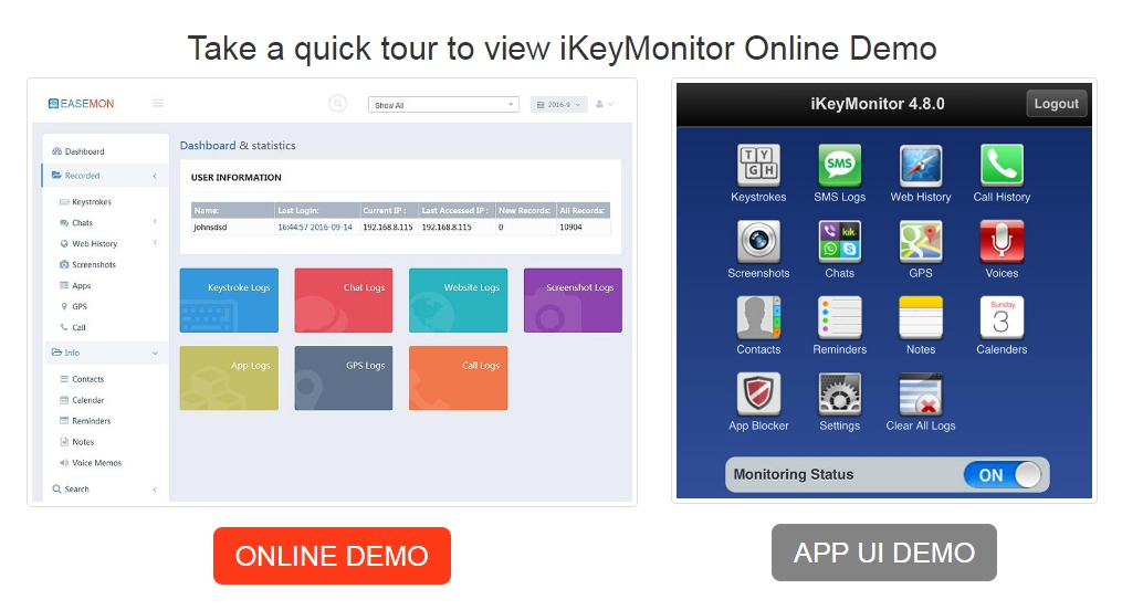 ikeymonitor online demo