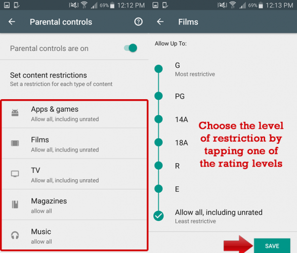 restrict content on Google Play 6