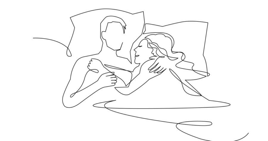 couple in sleeping pose on pillows