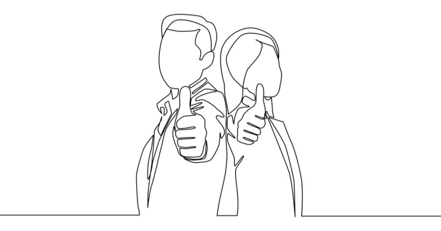couple man and woman giving thumbs up