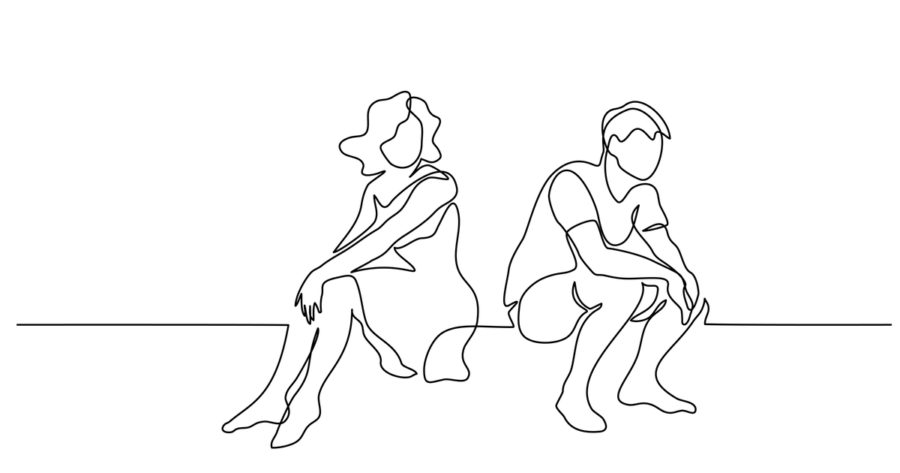 upset couple woman and man sitting.
