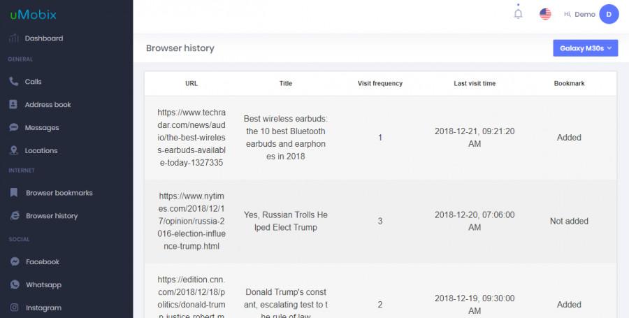 umobix web browser history
