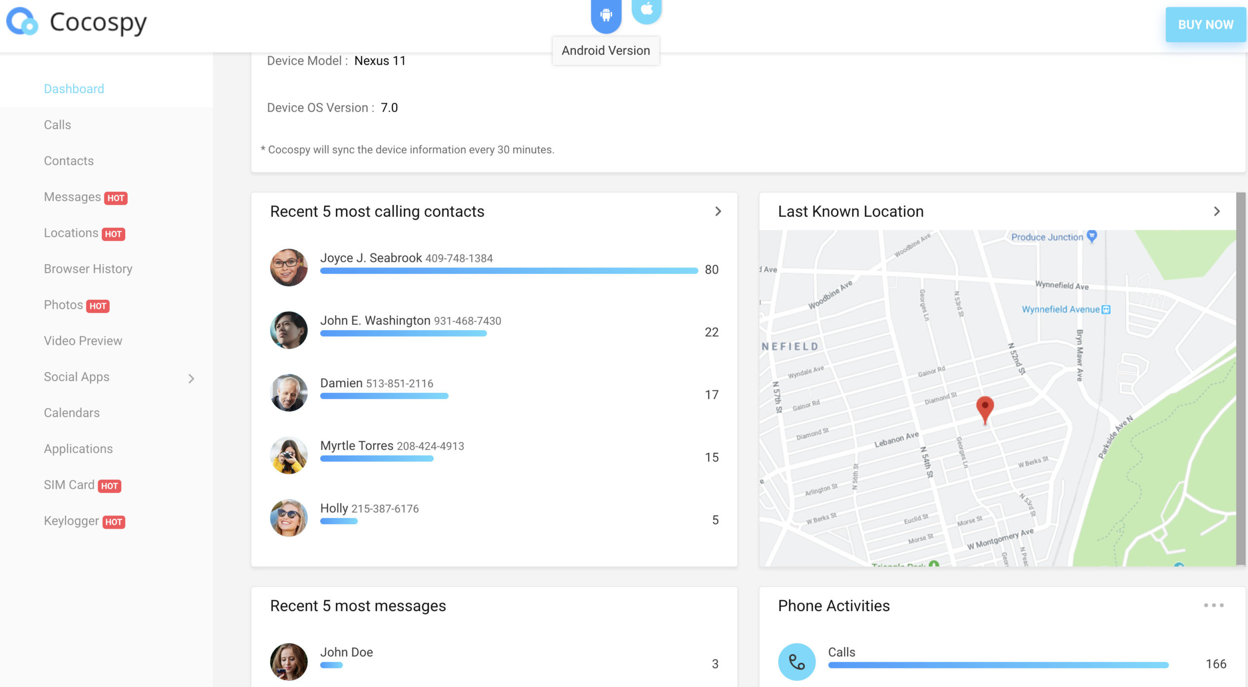 Cocospy android dashboard