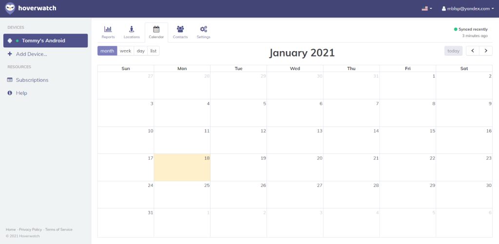 Hoverwatch calendar monitoring