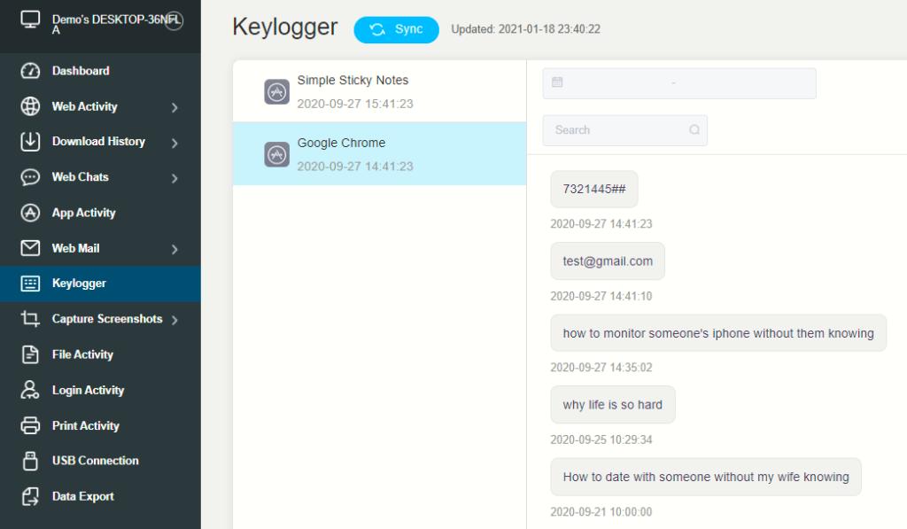 KidsGuard Pro Keylogger Dashboard
