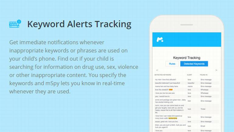 mSpy Keyword Alerts Tracking