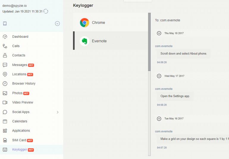Spyzie Keylogger Dashboard