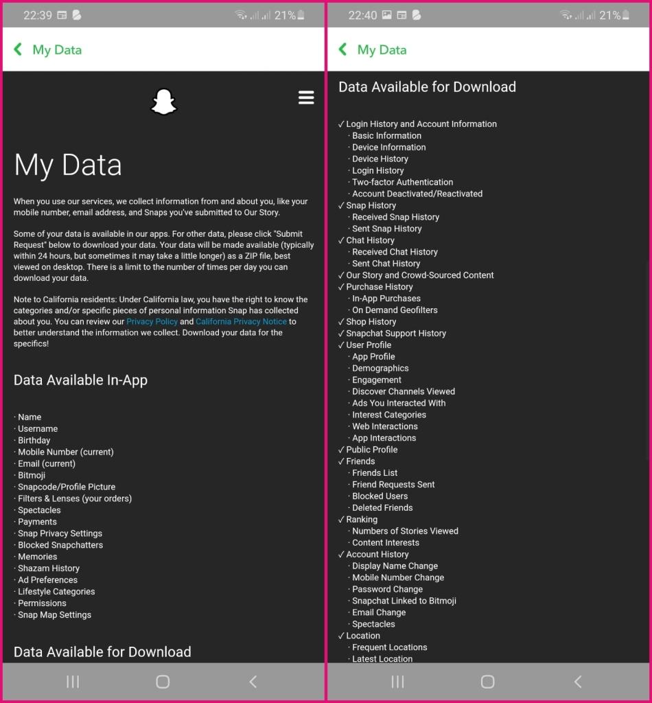 Snapchat My Data