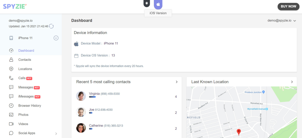 Spyzie dashboard - track my girlfriend's cell phone