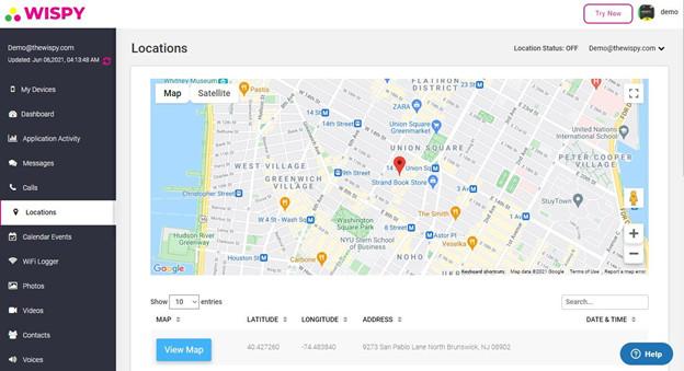 TheWiSpy App GPS Tracking Interface