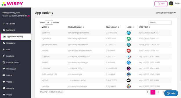 TheWiSpy App App Monitoring
