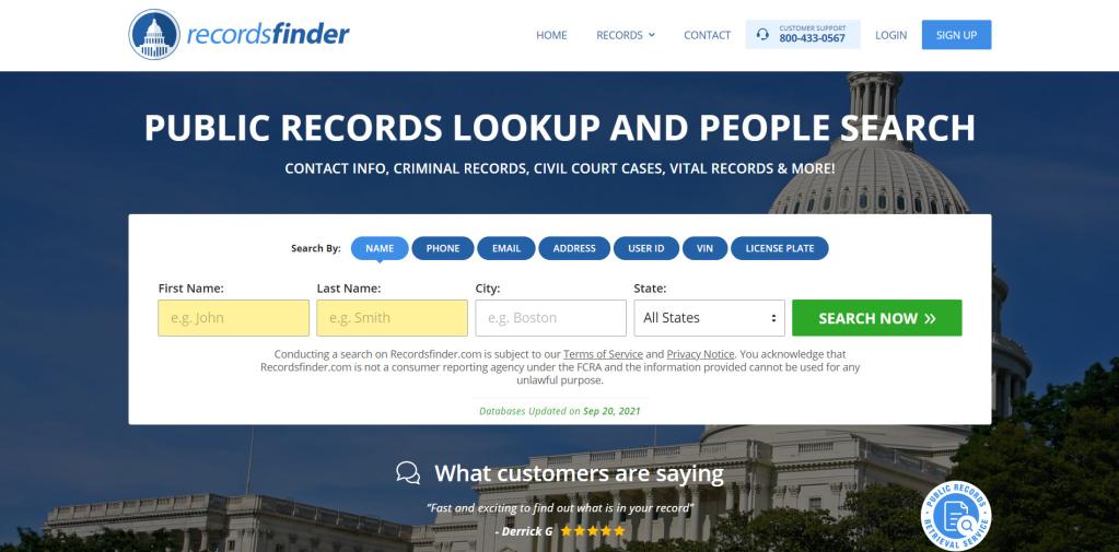 RecordsFinder phone number lookup