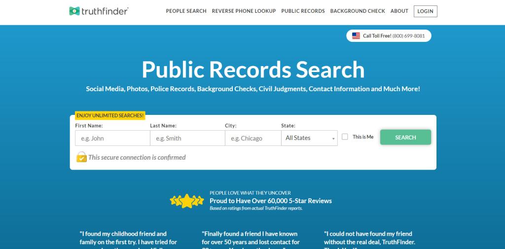 Truthfinder homepage
