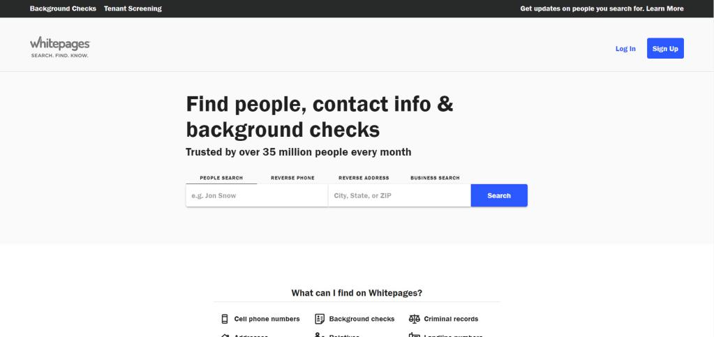 Whitepages website